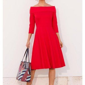 BP OFF THE SHOULDER PONTE FIT AND FLARE DRESS